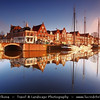Netherlands - Haarlem - Historical center of the tulip bulb-growing district for centuries - Bloemenstad - Flower city - Soft Morning Light at canals on river Spaarne <br /> <br /> Camera Model: Canon EOS 5D Mark II; Lens: 17.00 - 40.00 mm; Focal length: 20.00 mm; Aperture: 4.5; Exposure time: 1/50 s; ISO: 100