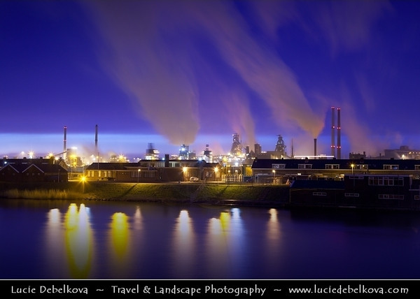 Netherlands - IJmuiden on the North Sea - Dusk - Twilight - Blue hour over Harbour factories <br /> <br /> Camera Model: Canon EOS 5D Mark II; Lens: EF24-105mm f/4L IS USM; Focal length: 50.00 mm; Aperture: 7.1; Exposure time: 30.0 s; ISO: 320