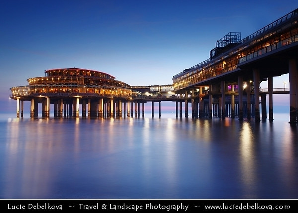 Netherlands - Scheveningen - Modern seaside resort on Shores of the North Sea with a long sandy beach, esplanade, pier & lighthouse - Twilight - Dusk - Blue Hour <br /> <br /> Camera Model: Canon EOS 5D Mark II; Lens: 17.00 - 40.00 mm; Focal length: 36.00 mm; Aperture: 11; Exposure time: 32.0 s; ISO: 100