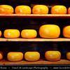 Netherlands - Traditional Dutch Cheese - Dairy products include prominent cheeses such as Gouda, Leyden (spiced cheese with caramin, cumin or cloves), Edam (traditionally in small spheres) as well as Leerdammer and Beemster <br /> <br /> Camera Model: Canon EOS 5D Mark II; Lens: 28.00 - 300.00 mm; Focal length: 46.00 mm; Aperture: 5.0; Exposure time: 1/60 s; ISO: 3200