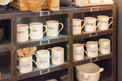 Typeface mugs with the designer and year.