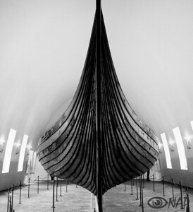 1,000 year-old viking ship, big, elegant, menacing.  Vikingskip Museum in Bygdoy, Oslo.