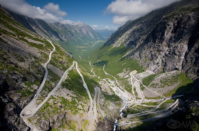 "Trollstigen- ""Troll's Ladder"" the road from the valley to the Trollstiggen pass."