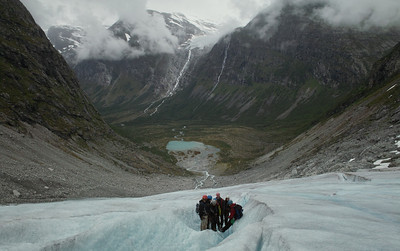 Looking down from the Bodalsbreen glacier into the valley below.