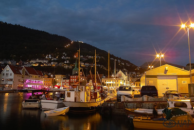 Bergen port at night