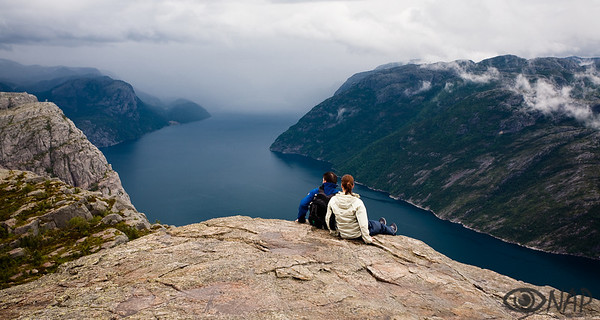 Preikestolen, a 25mx25m rock platform high above the Lysefjord