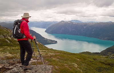 Looking at the Lusterfjord on the way to Molden (the finest viewpoint in Sogn)
