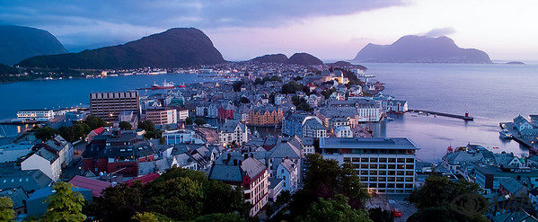 Alesund at midnight, view from Aksla point.