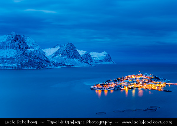 Europe - Scandinavia - Norway - North of the Arctic Circle - Troms county - Senja - Norway's second biggest island - Husøy - House Island - Small island about 1000 meters long and 500 meters wide located in the Øyfjorden off the northwest coast of the far north of Senja - Dusk - Twilight - Blue Hour - Night