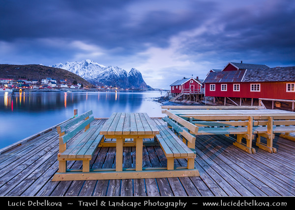 Europe - Scandinavia - Norway - North of the Arctic Circle - Nordland county - Lofoten islands archipelago - Moskenes - Moskenesøya island - Reine - Picturesque fishing village under fresh cover of snow during winter time
