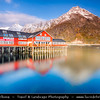 Europe - Scandinavia - Norway - North of the Arctic Circle - Nordland county - Lofoten islands archipelago - Moskenes - Å - Picturesque fishing village situated at outermost in the Lofoten Islands - One of Norways most authentic old resort under fresh cover of snow during winter time