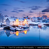 Europe - Scandinavia - Norway - North of the Arctic Circle - Nordland county - Lofoten islands archipelago - Austvågøya island - Vågan - Svolvaer - Svolvær - Chief town & port of the Lofoten island group under fresh cover of snow during winter time
