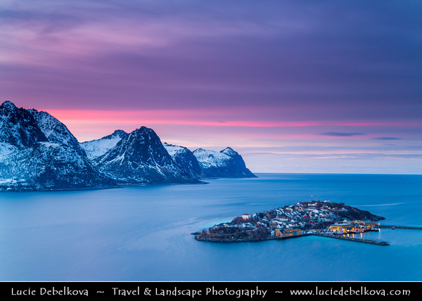 Europe - Scandinavia - Norway - North of the Arctic Circle - Troms county - Senja - Norway's second biggest island - Husøy - House Island - Small island about 1000 meters long and 500 meters wide located in the Øyfjorden off the northwest coast of the far north of Senja at winter time - Sunset - Dusk - Twilight - Blue Hour - Night
