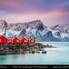 Europe - Scandinavia - Norway - North of the Arctic Circle - Nordland county - Lofoten islands archipelago - Moskenes - Hamnoy - Hamnøy - Picturesque fishing village under fresh cover of snow during winter time