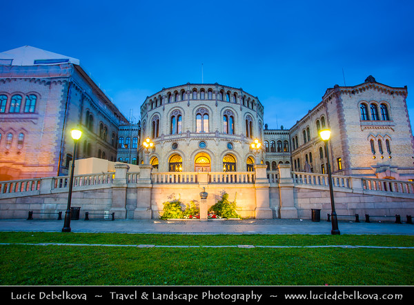 Europe - Norway - Oslo - Storting - Stortinget - Parliament of Norway Building - Stortingsbygningen - Seat of the Parliament of Norway located at famous Karl Johans gate street