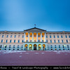 Europe - Scandinavia - Norway - Oslo - Royal Palace - Slottet - Det kongelige slott - Situated on Bellevue, at one end of Oslo's main thoroughfare - Karl Johans gate - Dusk - Blue hour - Twilight - Night