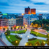 Europe - Norway - Oslo - Cityscape with Radhus - Oslo City Hall - Oslo rådhus - Seat of city council, city administration & art studios and galleries - One of Oslo's most famous and iconic buildings