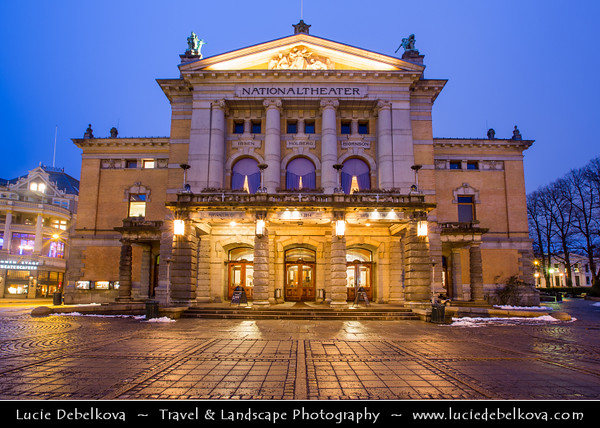 Europe - Scandinavia - Norway - Oslo - National Theatre - Nationaltheatret - One of Norway's largest & most prominent venues for performance of dramatic arts - Dusk - Blue hour - Twilight - Night