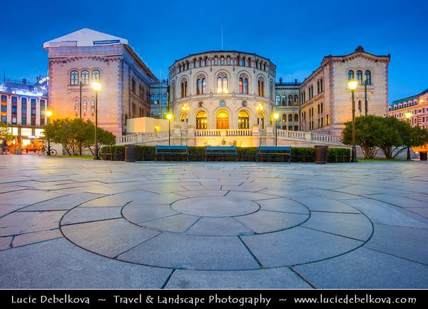 Europe - Norway - Oslo - Storting - Stortinget - Parliament of Norway Building - Stortingsbygningen - Seat of the Parliament of Norway located at famous Karl Johans gate street