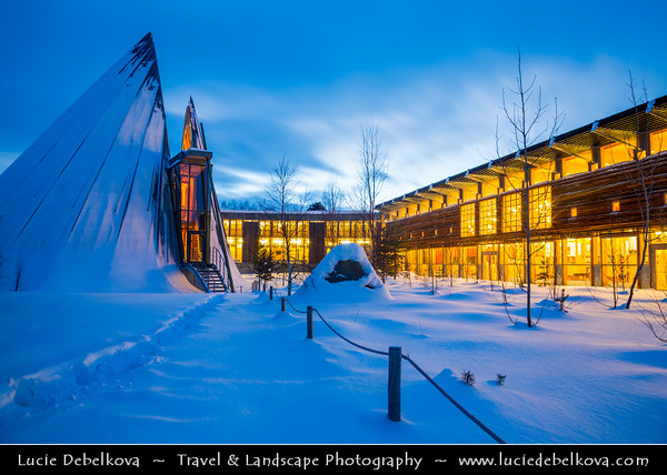 Europe - Scandinavia - Norway - Finnmark - Extreme Northeast of Norway - North of the Arctic Circle - Karasjok - Kárášjohka - Sami Parliament of Norway - Sametinget- Representative body for people of Sami heritage - Institution of cultural autonomy for the indigenous Sami people - Under snow cover during Twilight - Blue Hour - Night - Dusk