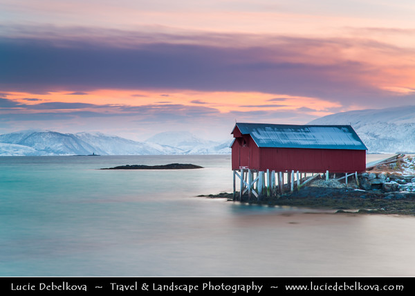 Europe - Scandinavia - Norway - North of the Arctic Circle - Troms county - Tromsø surrounding - Sommarøy island - Popular tourist destination for its white sand beaches & beautiful scenery with traditional wooden houses built into the sea during winter time