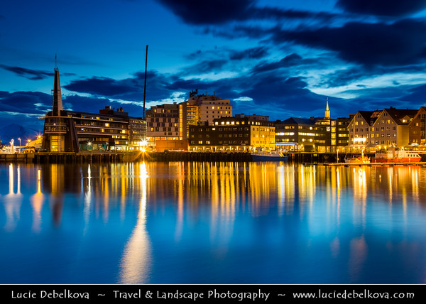 Europe - Scandinavia - Norway - North of the Arctic Circle - Troms county - Tromsø - The capital of the Arctic - Downtown skyline at Dusk - Twilight - Blue Hour - Night