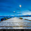 Europe - Scandinavia - Norway - North of the Arctic Circle - Nordland county - Narvik - Seaport located on the shores of the Ofotfjorden - Marina at Dusk - Twilight - Blue Hour - Night