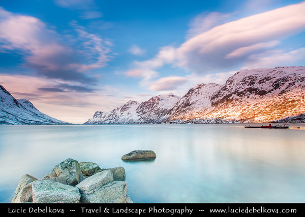 Europe - Scandinavia - Norway - North of the Arctic Circle - Troms county - Tromsø surrounding - Kvaløya island - Ersfjordbotn fishing village at the end of the Ersfjorden fjord under fresh snow during winter time