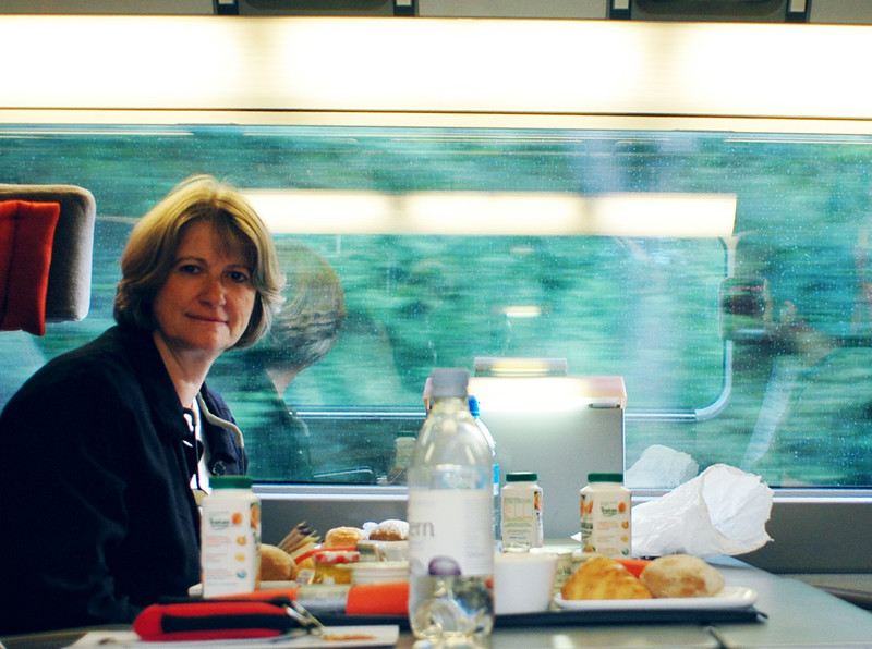 My co-workers and I are in the high speed train coming in from London