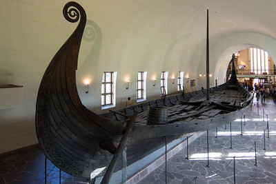 Stern of the Oseberg ship showing the rudder.