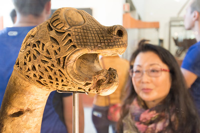 Carved wooden animal heads