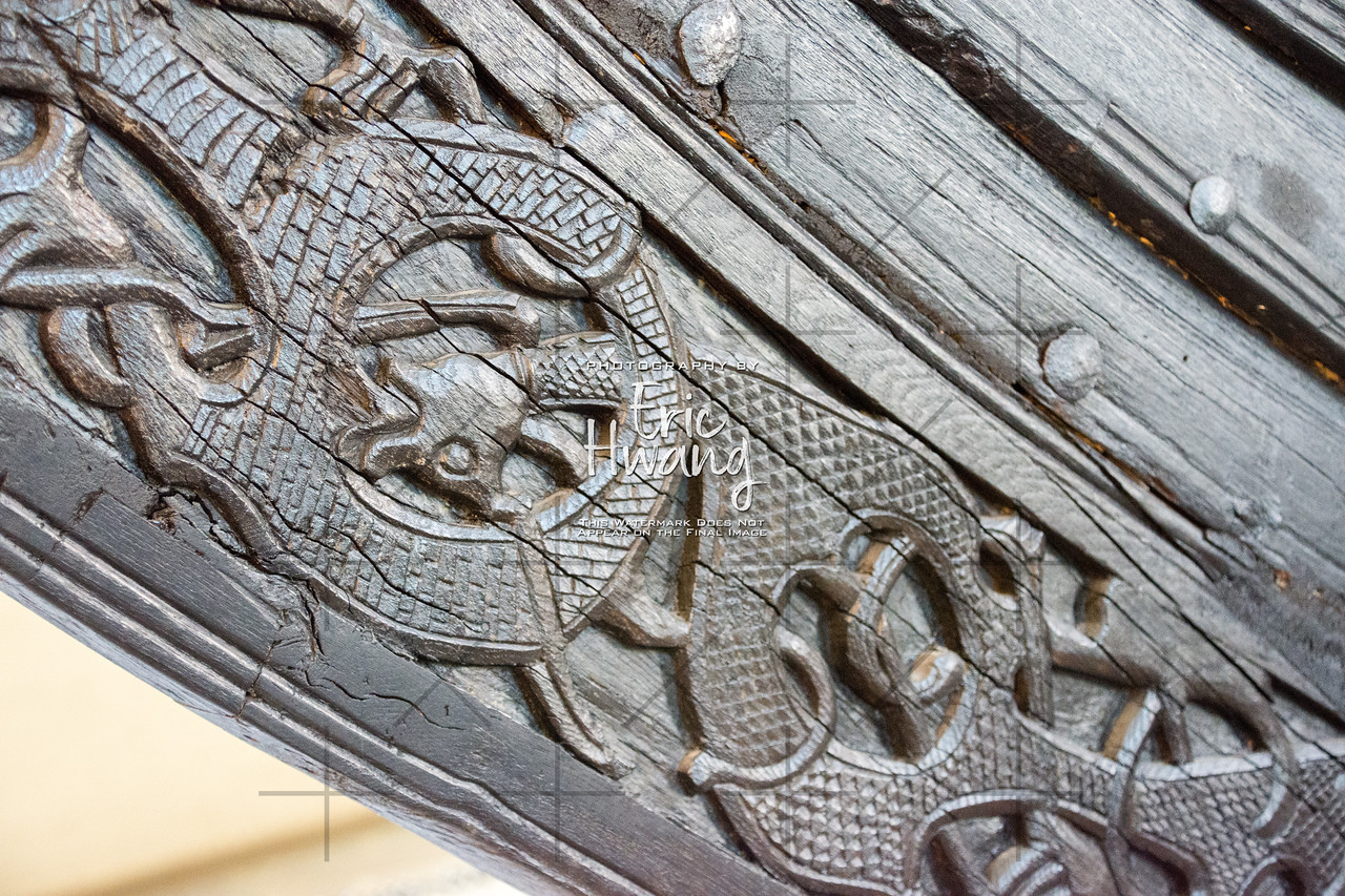 Original carvings on the prow of the Oseberg