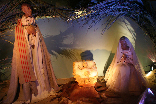 Nativity scene inside Notre-Dame.