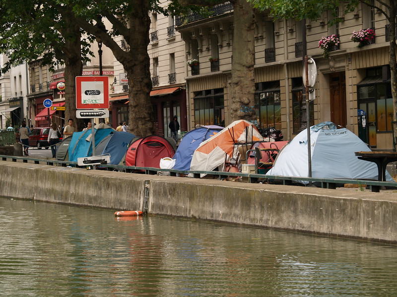Homeless Parisians living along the banks of the canal