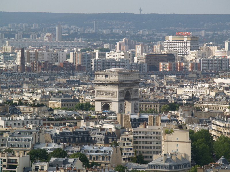 Arc de Triomphe seen from the Eiffel Tower