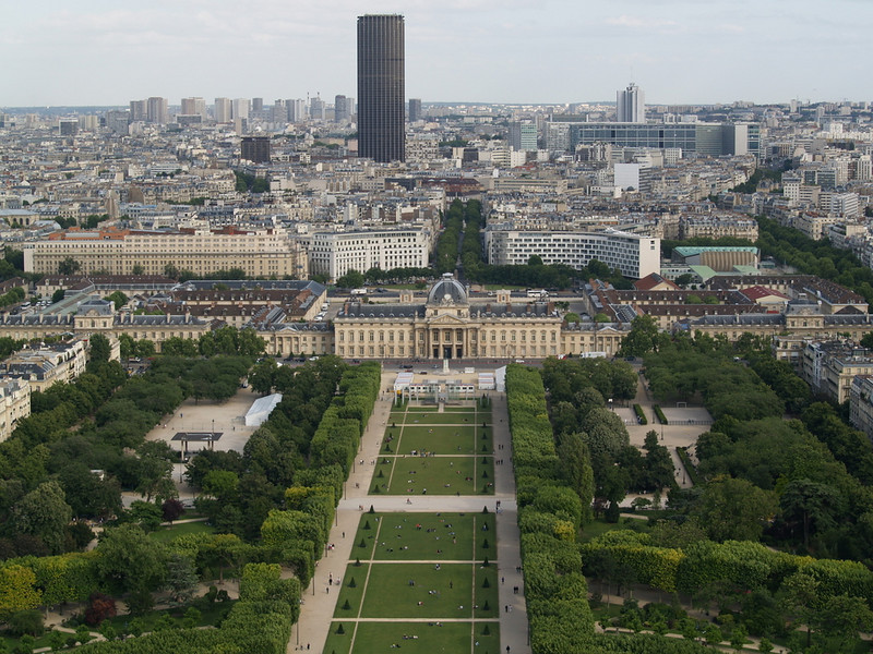 Ecole St. Cyr (French military academy) and parade ground from the Eiffel Tower