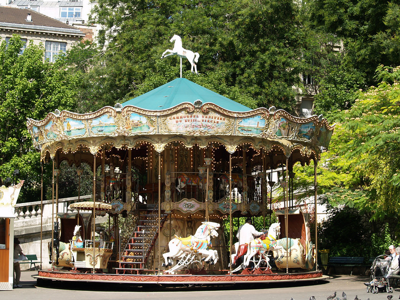 Monmartre merry-go-round at the foot of the hill leading to Sacre Coeur