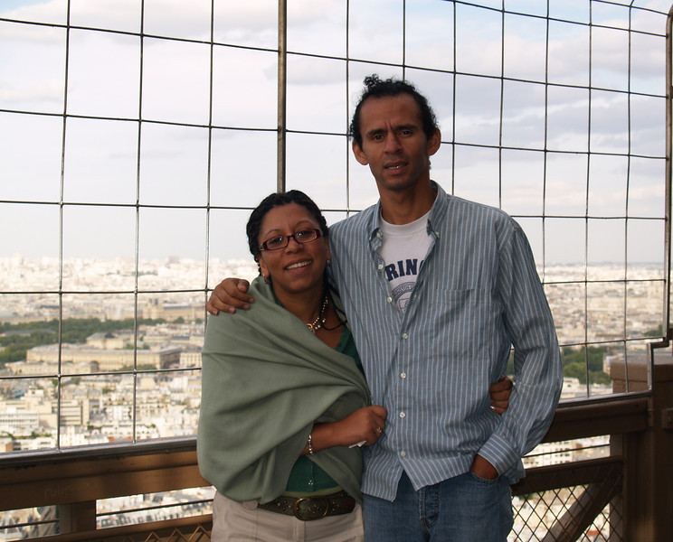 Joy and Paul at the Eiffel Tower (what is with that hair...?)
