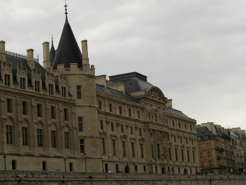 The Conciergerie; built in the 14th century as a royal palace, it later became the first prison in Paris.  Famous as the building in which Marie Antoinette and thousands of others were condemned to death during the French Revolution.