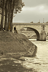 Seine Fisherman, Ile Saint-Louis, Paris, May 2077