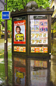 News kiosk on Grands Bolevards district in Paris.