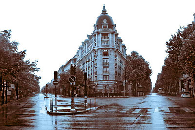 PNB Paribas Grands Boulevards head office on a rainy Sunday afternoon.