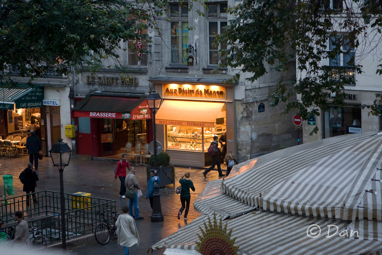 The early dawn view of the boulangerie.
