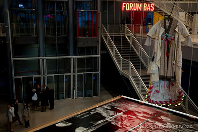 Sarkis exhibition at Centre Pompidou (Sarkis is in the scene, near the elevator)