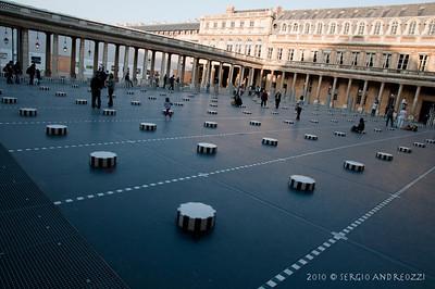 """The Buren columns"" by Daniel Buren, 1986 - in the courtyard of Palais Royal"