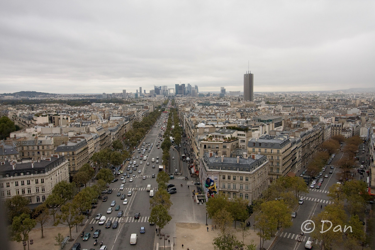 View from the top of the Arch de Triomphe - you can see La Defense out there