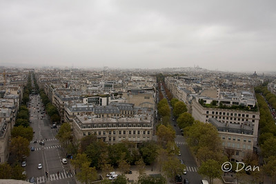 View from the top of the Arch de Triomphe - you can see Sacre Coeur out there on the right
