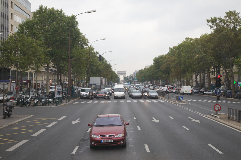 Paris traffic down the Champs Elysees