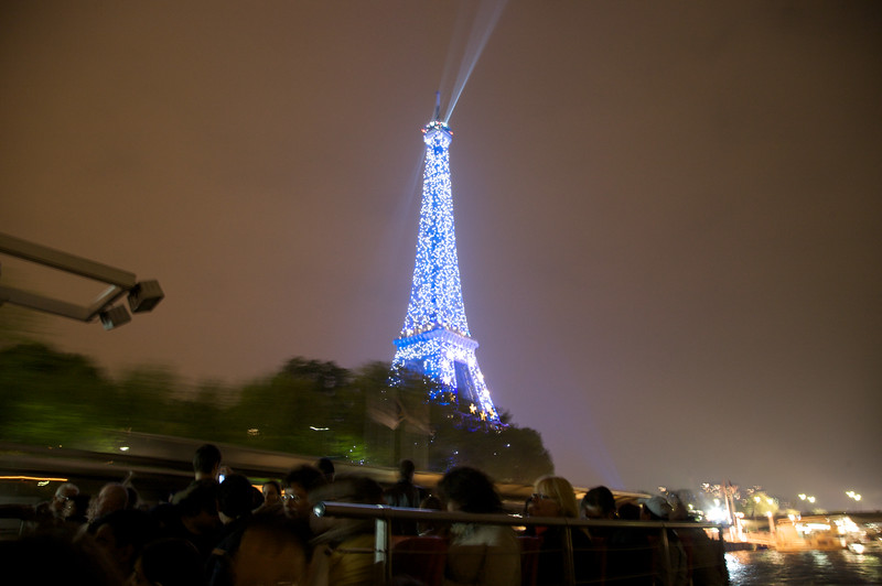 Eiffel Tower - During light show, and captured from a boat cruising the Seine River