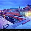 Europe - Poland - Polska - Warsaw - Warszawa - Historic Centre of Warsaw - UNESCO World Heritage Site - Old Town with its churches, palaces & market-place - Castle Square (Plac Zamkowy) - Dusk - Twilight - Blue Hour - Night